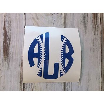 Softball or baseball stitches monogram vinyl decal