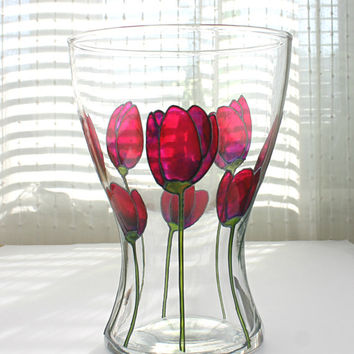 Hand Painted Glass Vase, Purple & Pink Tulips Design, Home Decor, Centerpiece