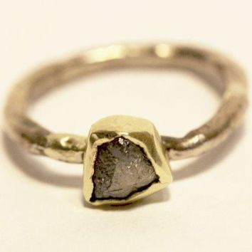 Rustic Organic Womans Engagement Ring Natural Uncut Diamond Gold Jewelry Handmade   Ring White Gold Ring Yellow Gold Ring
