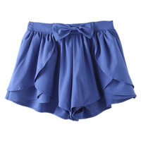 ROMWE Asymmetric Bowknot Layered Flouncing Blue Shorts