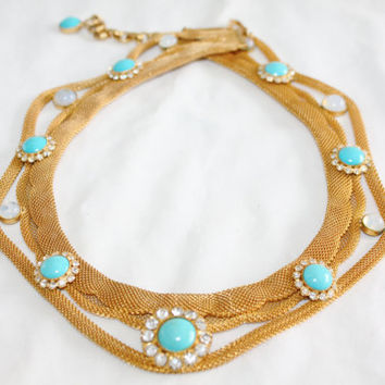Vintage Hobe Necklace,  Mesh Bib Necklace, Designer Jewelry, Turquoise Moonstone Necklace, 1970s Jewelry