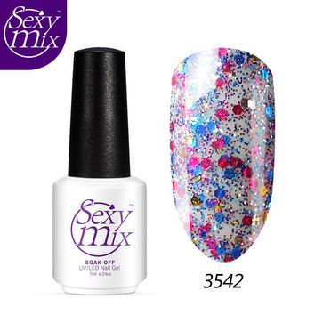 Sexymix Professional Diamond Glitter UV Nail Gel Polish Soak Off Golden French Manicure LED Gel Use With Base Top Coat Nail Gel