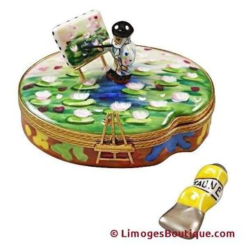 MONET PALETTE WITH ARTIST AND PAINTING WITH REMOVABLE TUBE OF PAINT LIMOGES BOX