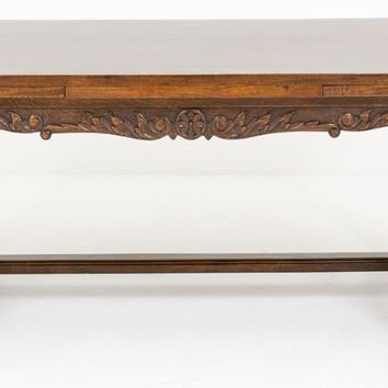Canonbury - French Oak Refectory Dining Table Carved Legs 1890