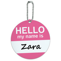Zara Hello My Name Is Round ID Card Luggage Tag