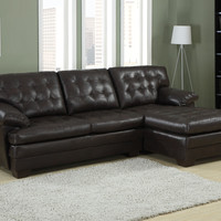 A.M.B. Furniture & Design :: Living room furniture :: Sofas and Sets :: Leather sectionals :: 2 pc Brooks Collection dark brown bonded leather upholstered tufted seat and backs sectional sofa set with chaise