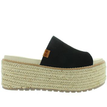 Coolway Newbor - Black High Chunky Platform/Wedge Espadrille Slide Sandal