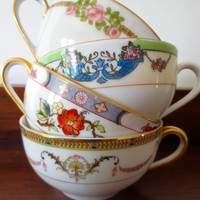 Set of 4 Mismatched Floral Teacups.  Bridal Shower, Tea Party Decor.  Coffee Cups, Alice in Wonderland