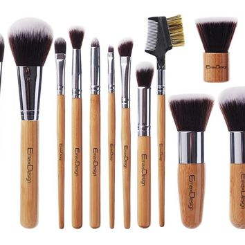 11pcs Professional Makeup Brushes - Bamboo Makeup Brushes