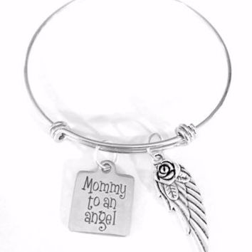 Adjustable Bangle Charm Bracelet Mommy To An Angel Wing Mother's Day Loss Gift