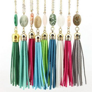 Boho Natural Stone Velvet Long Tassel Necklace