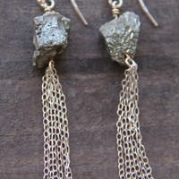 Raw Pyrite & Sterling Silver Drop Earrings