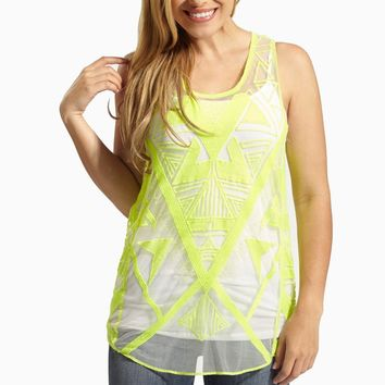 Neon Yellow Embroidered Sheer Tank Top