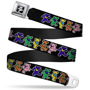Grateful Dead Men's  Dancing Bears Seatbelt Buckle Belt Rockabilia