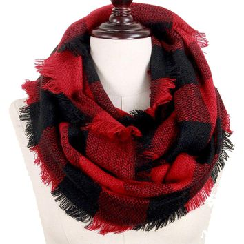 Red and Black Buffalo Plaid Woven Infinity Scarf