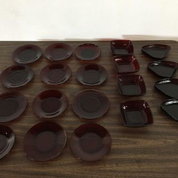 Assortment of Vintage Red Glass Plates and Bowls, makers unknown