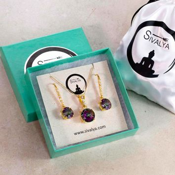 Cushion Cut Mystic Topaz Necklace and Earrings Jewelry Set in Gold Vermeil