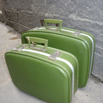 Beutiful pair of green suitcases from the 60's