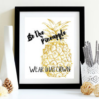 Instant Print - Pineapple Art - Wear That Crown - Printable Quote - Teen Girls Room - Thrifty Chic Decor - Black White Gold Art - Desk Art