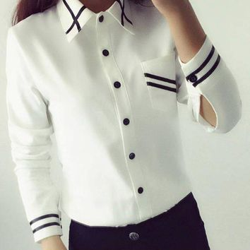 Elegant Women's Formal Korean Style Office Shirt With Blue Trim.    Available in Long Sleeve White or Beige and Short Sleeve White.    In Sizes From Small to XL.    ***FREE SHIPPING***