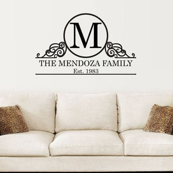 Initial Monogram Decal With Shabby Chic Frame Family Name And Established Date for Living Room Foyer Or Entryway Wall 22H x 36W FN012