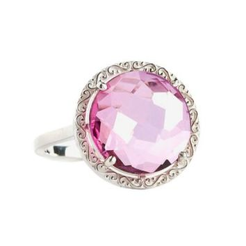 Suzanne Kalan Sterling Silver 12mm Round-Cut Pink Topaz Filigree Bezel Ladies' Ring