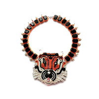 TEACH ME TIGER soutache and stone necklace (free international shipping)