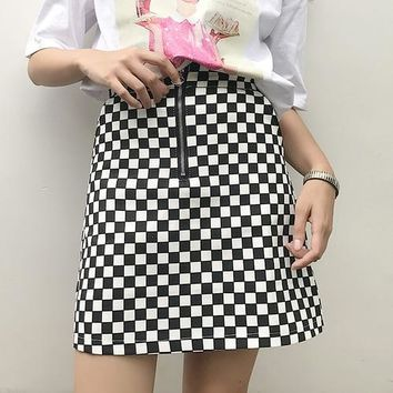 Check Mate High Waist Skirt