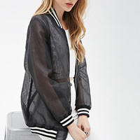 Sheer Organza Varsity Jacket