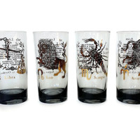 Zodiac Glasses, Scorpio, Libra, Aries, Leo, Smokey Bar Glasses, 22kt Gold