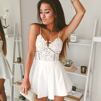 Women's sexy V-neck fashion style skirt suspenders