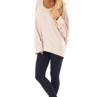 Dusty Blush Reversible Long Batwing Sleeve Crossover Top