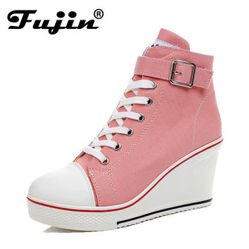 large size 8cm High 2017 Women Casual Canvas Shoes Woman platform Wedges High Top with Zippers Ladies Zapatos mujer Espadrilles