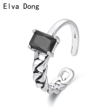 Black Rectangle CZ Silver Color Curb Chain Band Open Rings For Women Girls Jewelry Punk Anillos Bague Anel Aneis Brass Knuckles