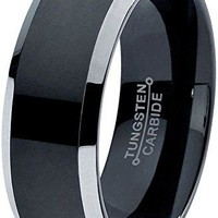 8mm Tungsten Wedding Band Ring Comfort Fit Black Grey Beveled Edge Brushed Polished