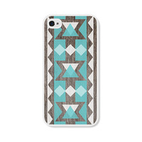 Geometric Apple iPhone 4 Case - Plastic iPhone 4s Case - Wood Tribal Southwest iPhone Case Skin - Turquoise Brown White Cell Phone For Him