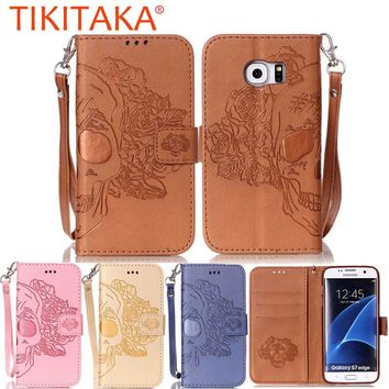 Luxury Stand Wallet Cover For iphone 7 6 6s Plus SE 5 5s Case Fashion Embossed Skull Leather Flip For Samsung Galaxy S7 S6 edge