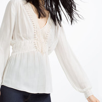 BLOUSE WITH GUIPURE LACE FRONT