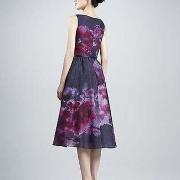 Neiman Marcus Lela Rosa Sleevless Watercolor Dress Size 14