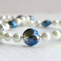 Metallic Royal Blue and Creamy White Faux Pearl Beaded Necklace - Handmade Jewelry - Dressy Jewelry - Ready to Ship