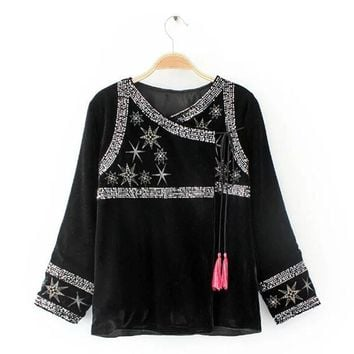 Ethnic Spliced Sequins Embroidery Stars Tassels Velour Jacket Vintage New Woman Ribbons Loose Kimono Cardigan Coat Sunscreen