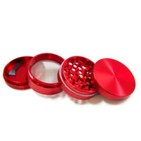 2.2 Inch Red Metal Herb Grinder 4 Piece Weed Grinder with Pollen Catcher&Scraper