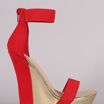 Liliana Two Tone Suede Open Toe Platform Wedge