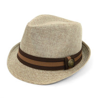 Brown Two Tone Fedora with Button Band