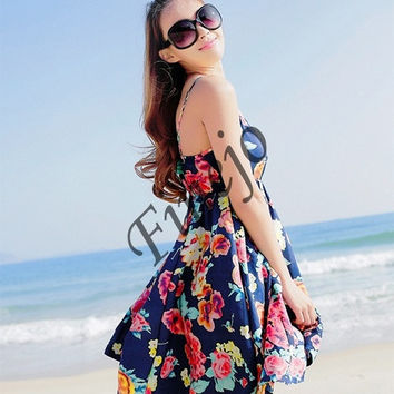 Fashion Women Summer Boho Chiffon Evening Party Beach Vest Mini Dress Sundress SV004710 = 1904256260