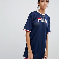 Fila Oversized T-Shirt Dress In Mesh With Contrast Tipping at asos.com