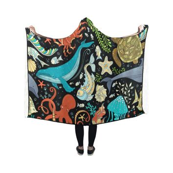 Hooded Blanket Sea Life Turtle Octopus Whale 50x40 Inch