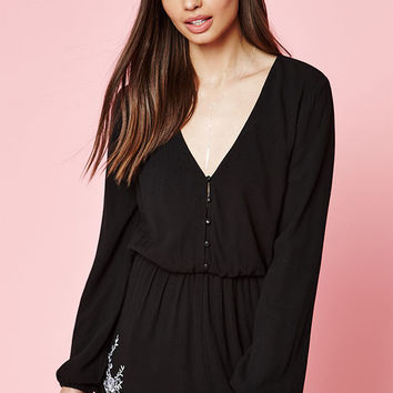 Kendall & Kylie Embroidered Long Sleeve Romper at PacSun.com