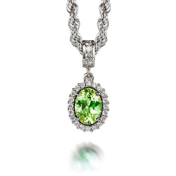 Oval cut Peridot and diamond halo necklace, white gold, diamond pendant, vintage, peridot necklace, anniversary, wedding, unique, green