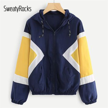 SweatyRocks Jackets Women Fall Coats Multicolor Cut and Sew Hooded Windbreaker Color Block Elastic Waist Drawstring Jacket